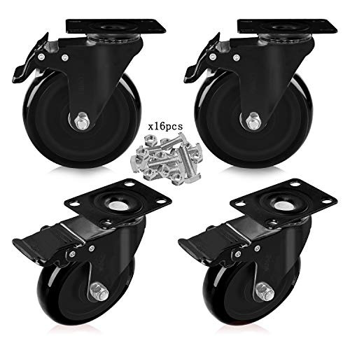 "Feyue 5"" Swivel Rubber Caster Wheels with Safety Dual Locking Heavy Duty 1800lbs Casters Set of 4 Black (All with Brake)"