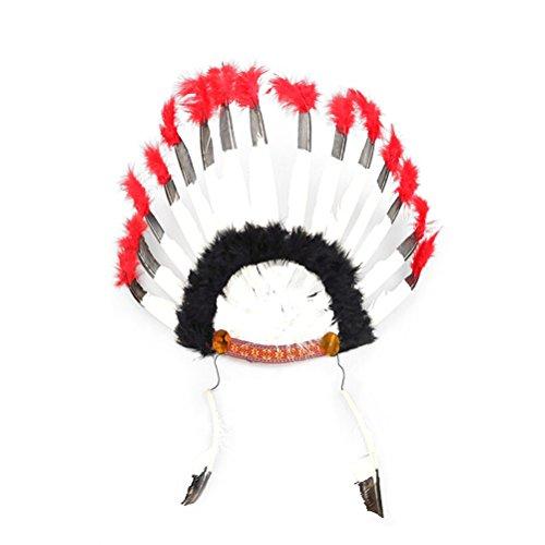 Amosfun 2 UNIDS Indio de la Pluma Diadema Tocado de Carnaval Traje de Headwear Disfraces de Halloween para Las Mujeres Girl Party