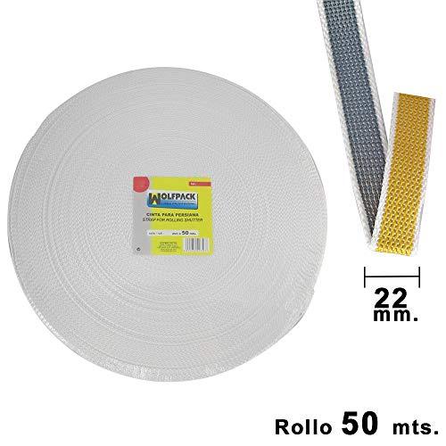 Wolfpack 5250575 Cinta Persiana 22 mm. Rollo 50m, Bicolor