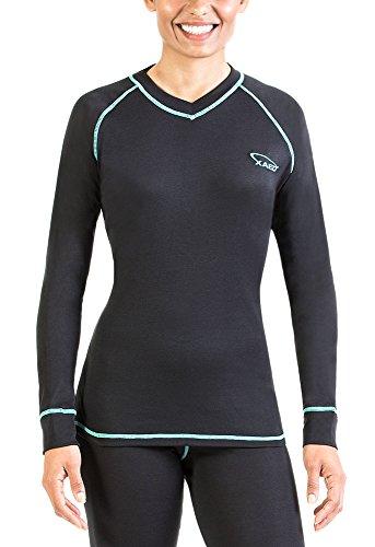 XAED - Camiseta térmica de manga larga para mujer (pequeña, negro/turquesa)