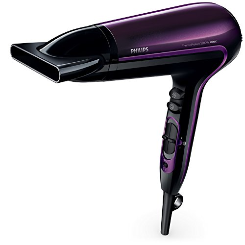 Philips DryCare Advanced Hair Dryer with Ionic Conditioning & Massaging Diffuser, Black/Purple, HP8233/00
