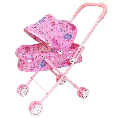 Plegable Muñeca Cochecito con Capucha Adorable muñeca del Cochecito de niño de Peso Ligero de Rosa de bebé de Juguete Cochecito para el bebé, niños pequeños Decorativo del hogar
