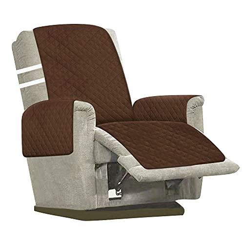 Sesselschoner, 1 Sitzer Sesselauflage, Anti-Rutsch Sesselüberwurf, Sesselschutz mit 2 weißen Spanngurten verstellbaren Schnallen & Armlehnen, Sesselbzug für Zuhause Wohnzimmer (Braun)