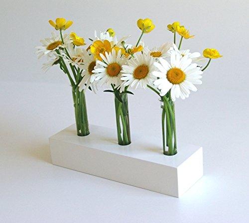 Die Schreiner - Christoph Siegel, White Spring, fioriera in legno senza tempo, elegante e decorativa con 3 portafiori in vetro