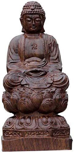 YGB Exquisitas estatuas, Madera China Feng Shui decoración figurita Madera de agar Estatua de Buda Sentado Escultura Tallada a Mano para el hogar y la Oficina 1029 (Color: Mediano)