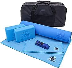 Yoga Set Kit 7-Piece 1 Yoga Mat, Yoga Mat Towel, 2 Yoga Blocks, Yoga Strap, Yoga Hand Towel, Free Carry Case - Perfect Yoga Gift for Exercises Yogis and Seniors