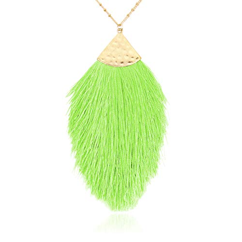 RIAH FASHION Antique Bohemian Silky Thread Fan Tassel Statement Necklace - Vintage Gold Feather Shape Strand Fringe Lightweight Long Chain (Feather Fringe - Neon Green)