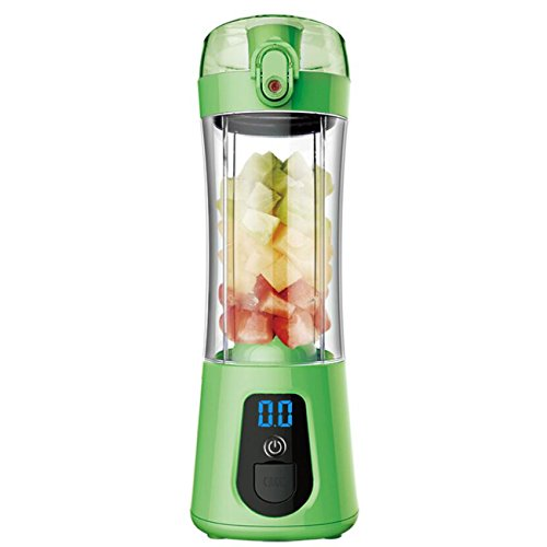 NANXCYR draagbare sappers mok vruchtensappers mini mixer en mixer met USB oplaadbare en 4 stuks messen voor thuis in de open lucht paars groen blauw roze