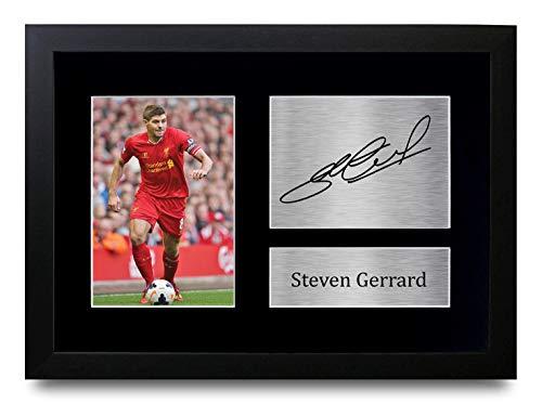 HWC Trading Steven Gerrard A4 Gerahmte Signiert Gedruckt Autogramme Bild Druck-Fotoanzeige Geschenk Für Liverpool Fußball Fans