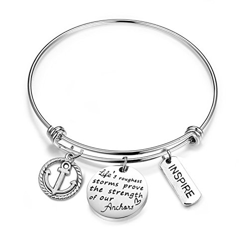 MYOSPARK Inspirational Bangle Life's Roughest Storms Prove The Strength of Our Anchors Wire Bangle Expandable Bracelet with Anchor Charm (Anchor Bracelet)