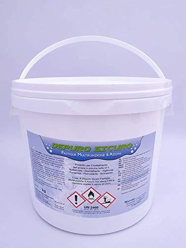 Naturii Cloro Multifunzione, Pastiglie 200 g Cloro Polifunzione Dicloro, Alghicida, Flocculante per Acqua Piscina kg 10 (1)