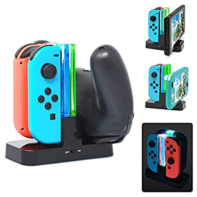 FYOUNG Replacement Charger Dock for Nintendo Switch Joy Con and Pro Controller, Fast Charging Stand Station for Switch Joy-con & Pro Controllers with Colorful Individual LED Indicator