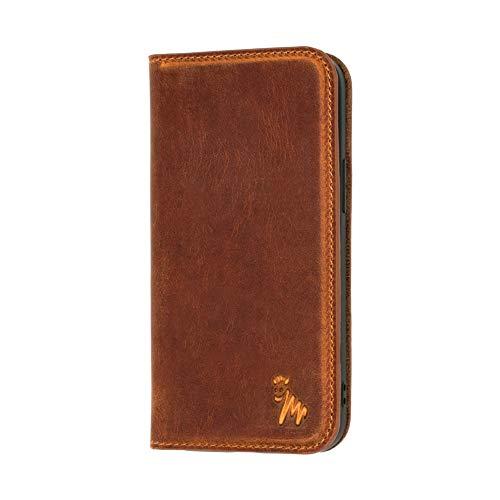 Quagga Funda de piel tipo cartera para iPhone 12/12 Pro - Ranura para tarjeta y cierre magnético | Negro, Marrón, Azul, Verde (Marrón)