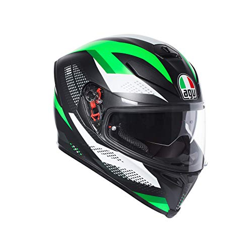 AGV, Casco Moto Integrale K-5 S E2205 Multi Plk Unisex-Adulto, Nero Marble Matt/Bianco/Verde, L
