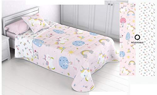 Energy Colors Textil-Hogar - Bouti Acolchada - Colcha Verano Estampada Reversible Tipo Infantil Funda de Cojín 50 x 50 cm Incluida (Unicornio Rosa, 180_x_270_cm-(Cama 90))