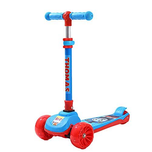 WFSH Scooter de los niños Scooter de Tres Ruedas, Muy Adecuado para niños y niñas (Color : Blue B)