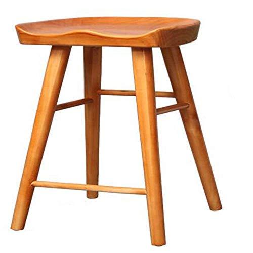 Bureaustoel, barkruk, meubelbar, barkruk, ontbijtkruk, ergonomisch design, kruk van massief hout, keuken, gewicht lager 200 kg, hoogte 55/65/75 cm (kleur teak) 55CM Colore Teak