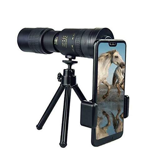 Telescopio Monocular con Zoom Súper Telefoto 4k de 10-300x40 mm, Monocular Impermeable a Prueba de Niebla con Soporte para Teléfono Inteligente y Trípode - para Caza/Camping (con trípode y Clip)