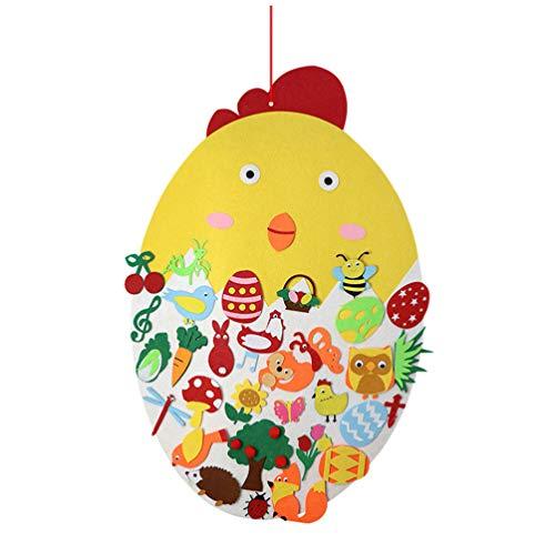 STOBOK Ostern Anhänger Filz Küken DIY Basteln Bekleben Kinder Bastelset Spielzeug Osterschmuck Osterndekorationen Ostern Frühling Party Festival Wand Fenster Tür Hängende Dekoration