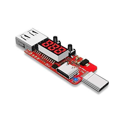 Yongenee Tipo C-PD2 / 3.0 a 5.5 CC * 2,5/2,1 mm DC5525 Digital del amperímetro del voltímetro del Instrumento probador automático de Carga rápida Junta de Disparo módulo de medición (Tamaño: D