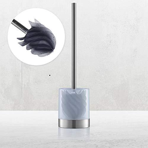 LOOMAID WC-Bürsten mit Bürstenhalter milchig | schmutzabweisender Reinigungskopf mit flexiblen Lamellen [Edelstahl/anthrazit]