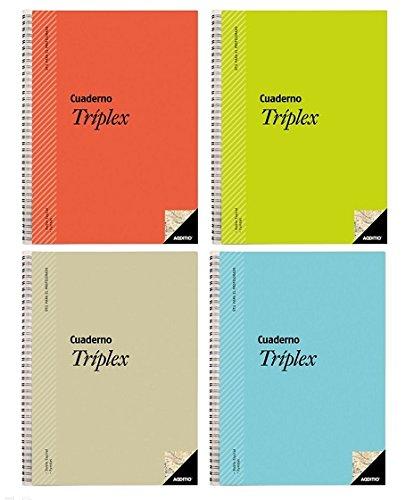 Additio P192 - Cuaderno Tríplex Para El Profesorado, Colores Surtidos