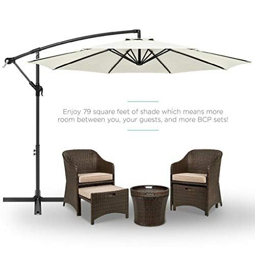 ADHW 10 FT Patio Umbrella Offset Hanging Folding Sun Shade Cantilever W/Cross Base (Color : Rice White)
