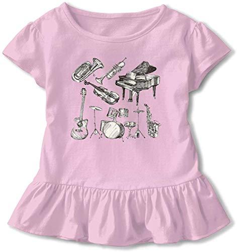 Trompet Piano Gitaar Art Peuter Baby Meisjes Jurk Gezellige Ruches T-Shirt Korte mouwen voor 2-6T