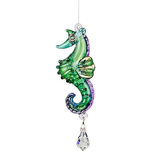 Woodstock Chimes CRPEA Fantasy Glass Suncatcher, Seahorse, Peacock