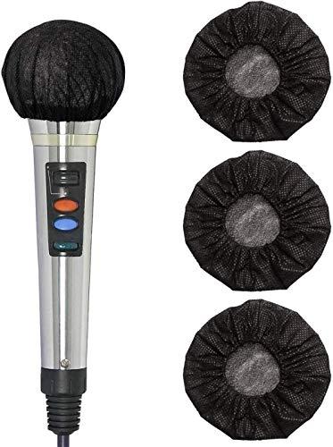 Funda de micrófono desechable de banda elástica no tejida para karaoke, para micrófono de mano, cubierta protectora de higiene, color negro, 200 unidades