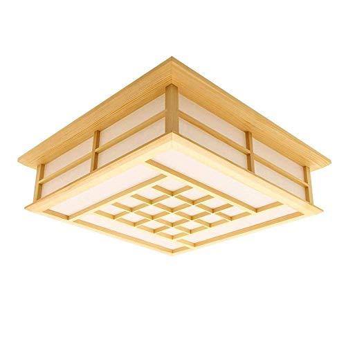 PGZ-lafond En Bois Clair Pour La Chambre D'étude 18 W LAMPE LED Lampe Lampadaire Japonais (350MM * 350MM * 120MM), Lumière Blanche