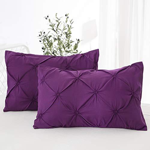 WONGS BEDDING Fundas de Almohada Plisadas púrpuras Suave y Acogedor Paquete Antiarrugas de 2 Funda de Almohada tamaño estándar (50 x 75 cm)