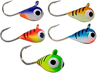 Tooth Shield Tackle UV Glow Tungsten Ice Fishing Jigs 5-Pack Crappie Perch Bluegill Walleye 5mm 5 Different Colors