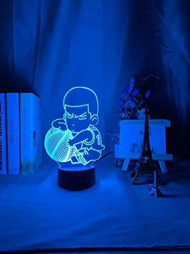 Lâmpada de ilusão de luz noturna LED 3D com Smart Touch Anime SLAM Dunk Hanamichi Sakuragi Figura infantil luz noturna para decoração de quarto, presente legal de aniversário, faculdade, dormitório, luminária de mesa THJS HOICHAN