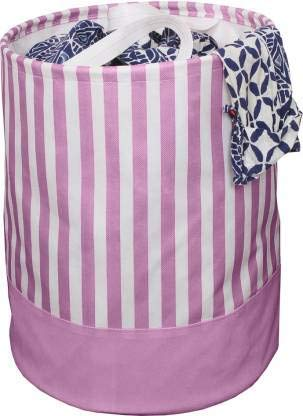 PrettyKrafts Folding Cloth Laundry Hamper with Handles - Dirty Clothes Sorter - Easy Storage (70 LTR) - Collapsible - Brown (Peach Stripes)