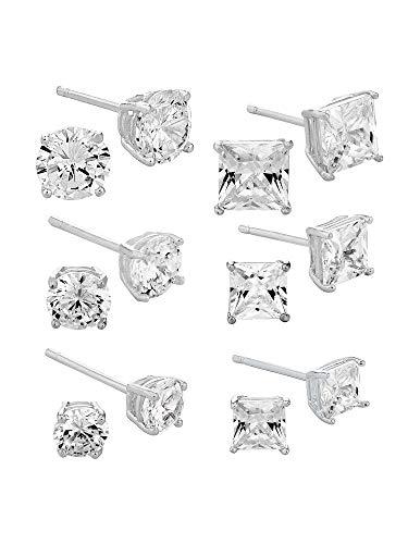 Juego de 6 pares de pendientes de tuerca de plata de ley 925 con circonita cúbica y diamante, unisex, 4 mm, 5 mm y 6 mm