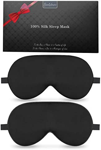 Silk Sleep Mask 2 Pack Mulberry Silk Eye Mask with Adjustable Strap Sleeping Aid Blindfold for product image