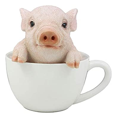 """Ebros Adorable Babe Teacup Pig Figurine 5.25"""" Tall Realistic Animal Collectible Design Decor Statue with Glass Eyes"""