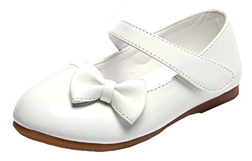 Bevalsa Festliche Mädchen Ballerinas Schuhe Kunstleder Bowknot Mary Jane Schuhe mit Schnalle für Hochzeit Kommunion Feier Weiss Schwarz Rot Pink Größen 20-36