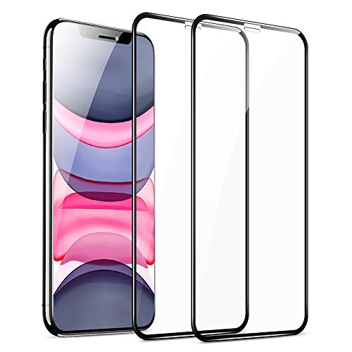 ESR Tempered-Glass Full-Coverage Screen Protector for iPhone 11/ XR [2-Pack], Full Screen Coverage, 3D Curved Edges, Easy Installation, Case-Friendly Glass Screen Protector for iPhone 6.1-Inch