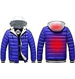 BEIAKE Chaqueta De Algodón con Calefacción Inteligente USB para Hombre De Invierno con Capucha Espesa 3 Chaquetas Calefacción Lavables con Control Temperatura para Acampar,Esquiar,Pescar,Azul,XXL