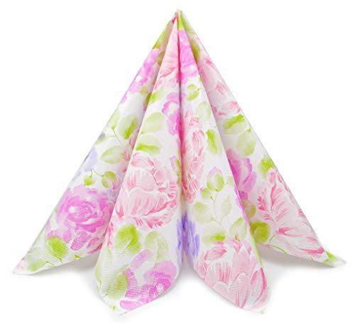 finemark 100 Stück Papierservietten PFINGSTROSEN 40 x 40 cm (0,20€/Stück) Tissue 3-lagig...