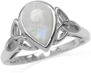 Silvershake 10X7mm Natural Pear Shape Moonstone White Gold Plated 925 Sterling Silver Triquetra Celtic Knot Ring