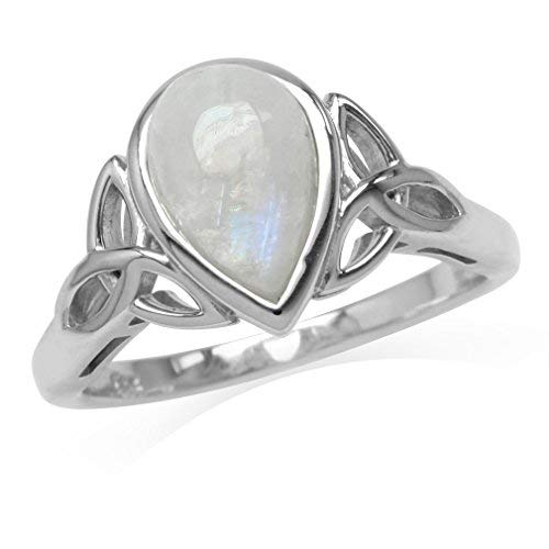 Silvershake 10X7mm Natural Pear Shape Moonstone White Gold Plated 925 Sterling Silver Triquetra Celtic Knot Ring Size 9.5