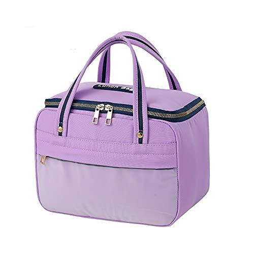 HANMOU Bolsa para el congelador impermeable y pequeña, para hombre, bolsa de picnic, bolsa aislante, bolsa de trabajo, bolsa isotérmica para el almuerzo, color lila, 27 x 14 x 19 cm