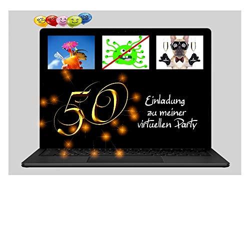 DigitalOase 2 Einladungskarten 50. Geburtstag VIRTUELLE PARTY Online Party MIT INNENTEXT 2 Klappkarten 2 Kuverts Format DIN A6#VIRTUAL