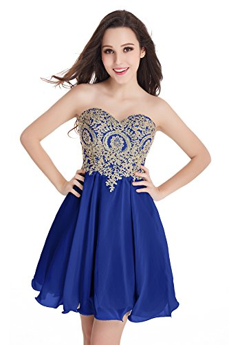 Babyonlinedress Women Sleeveless Bodycon Lace Applique Chiffon Cocktail Party Prom Dress(Blue,2)
