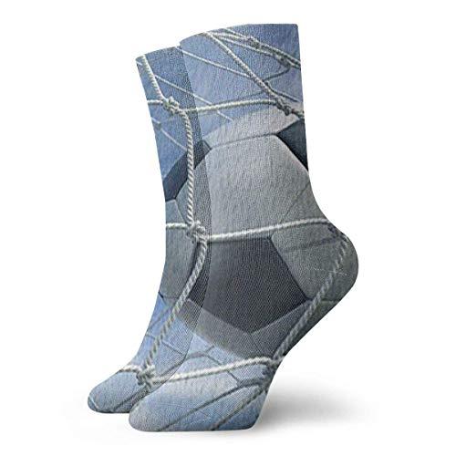 Christmas Unisex Classics Socks Sport Athletic Stockings 30cm Long Sock Gift Socks(Sporter Football 3d Rendering Of A Soccer Ball In A Netblack White)