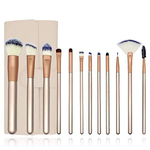 Set de pinceaux à maquillage 12 pcs avec sac de rangement Premium Foundation Kabuki synthétique Brosse de mélange Poudre pour le visage Blush Correcteur Ombres à paupières Kit de pinceaux à maquillage