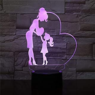 Creative 3D Mother and Daughter Lamp Night Light 7 Colors Changing USB Powered Touch Switch Decor Lamp Optical Illusion Lamp LED Table Desk Lamp Children Kids Brithday Christmas Gift